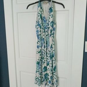 Loft blue and green floral dress